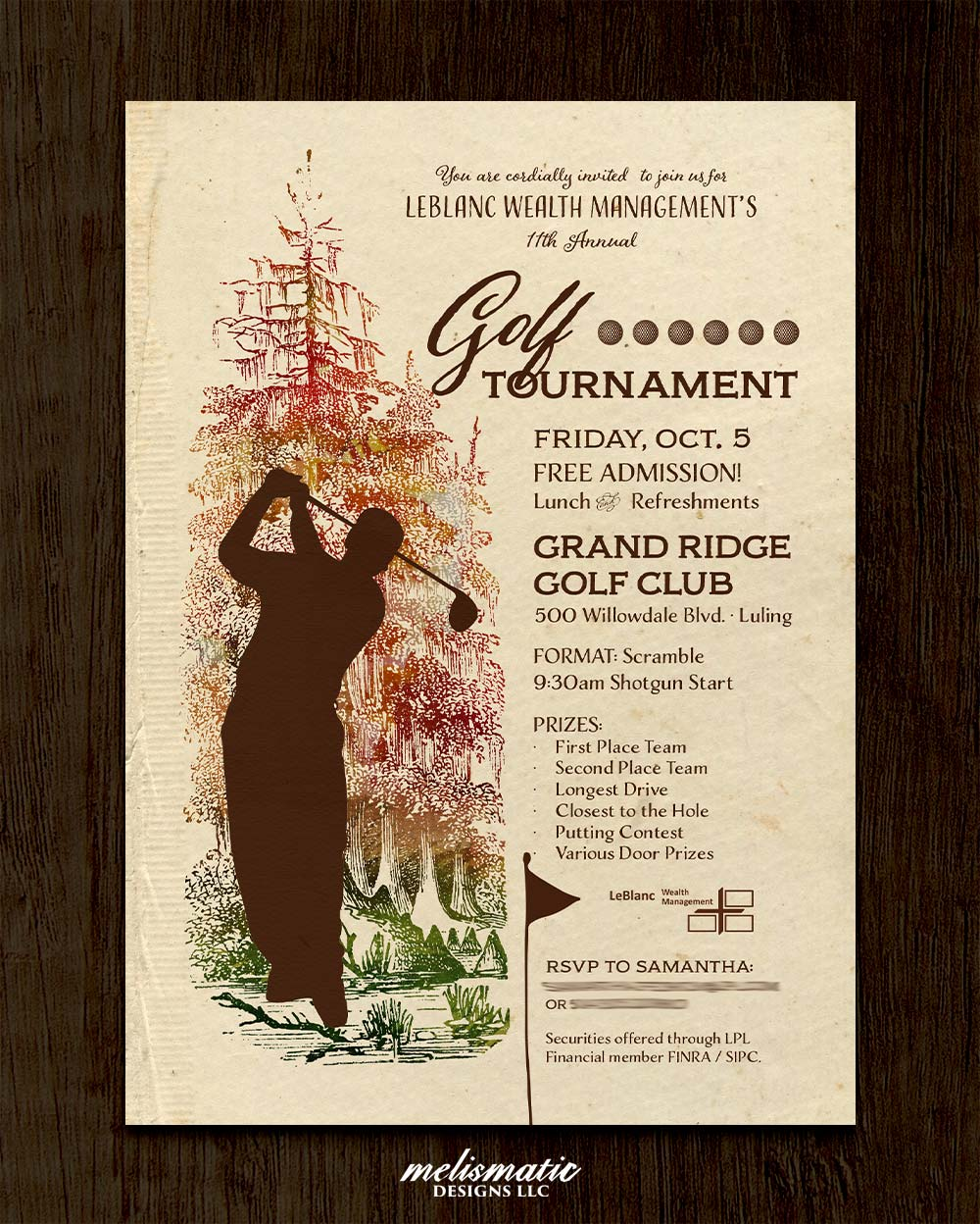 LeBlanc Wealth Management Golf Tournament Invitation Design